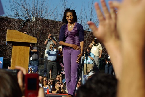 Michelle greets the crowd