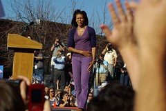 Michelle greets the crowd (zyrcster) Tags: colorado pueblo campaign democrats barackobama yeswecan election08 obamarally michelleobama