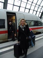 Arriving at Berlin (osto) Tags: trip vacation people woman holiday berlin smile train germany geotagged deutschland europa europe sony cybershot trainstation tina dscf828 osto november2008 osto