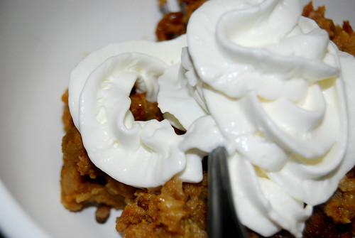 Pumpkin Bread Puddin' with Whipped Cream