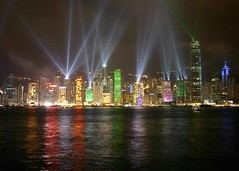 lasers on Hong Kong (Paul Cowell) Tags: show panorama reflection green skyline island lights colorful cityscape hong kong electricity kowloon lasershow 8pm