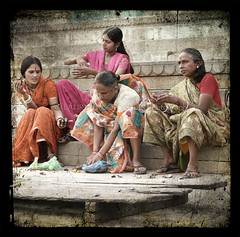 Fasting with singhara (designldg) Tags: people woman india colours varanasi sari ghats tms benaras femininity uttarpradesh  tellmeastory articulateimages tff1