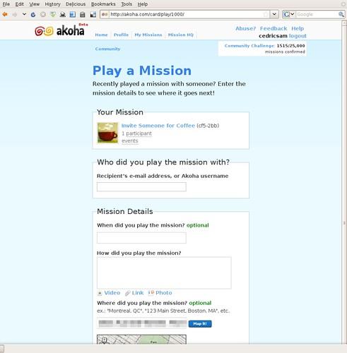 Akoha - Play a Mission