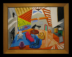David Hockney interior from 1983 (Martin Beek) Tags: art museum artist bradford modernart yorkshire davidhockney ra saltaire artworks colection personalcollection timeandtide 1853gallery avirtualmuseum artistictreasures avirtualartgallery copyrightmartinbeek2008