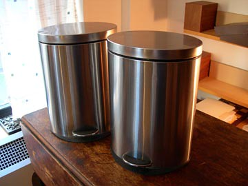 Oval Steel Trash Cans-SOLD