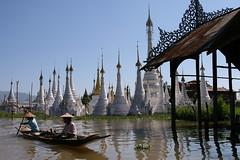 Ywama, Inle Lake, Burma. ( Libyan Soup) Tags: lake reflection water boat burma myanmar inlelake inle paddling burmese pagodas inlay stupas ywama lpfloating