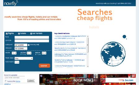 Nowfly.co.uk homepage