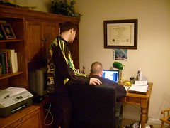 Powell and Dad on the Computer