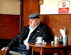 EX3 (Suzy Prior) Tags: old england people english cafe nikon alone martin chairs candid traditional documentary traditions oxford figure condiments oxfordshire cupoftea parr oap martinparr englishness drinkingtea enlglishness