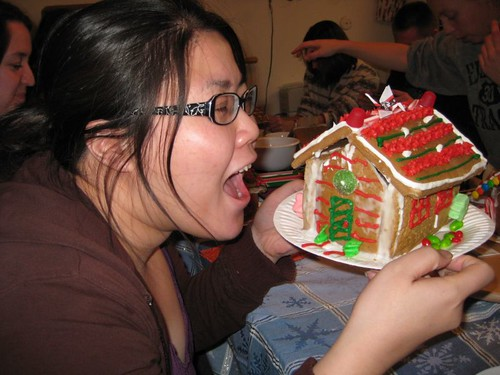 ginger bread pretending to eat