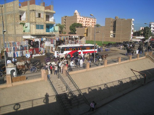 Horse and carts await cruise passengers in Edfu