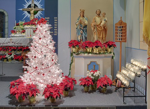 Saint John the Baptist Roman Catholic Church, in Villa Ridge (Gildehaus), Missouri, USA - Christmas tree and Holy Family