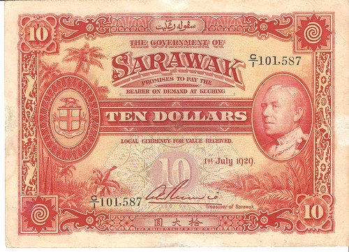 $10 1/7/1929 Sarawak Bank Note