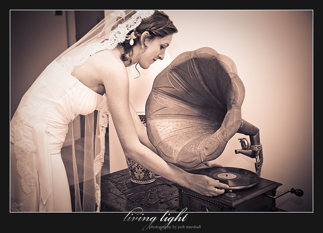 Bride with old gramophone.
