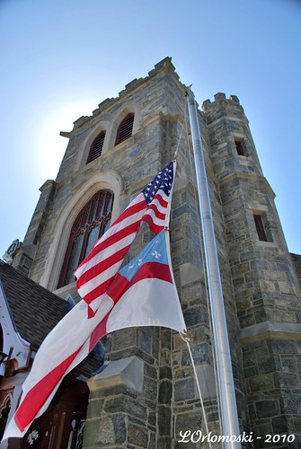 Flags in front of the Grace Episcopal Church