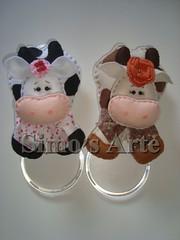 Porta panos vaca (Efeltro Borboleta) Tags: feltro portapanos