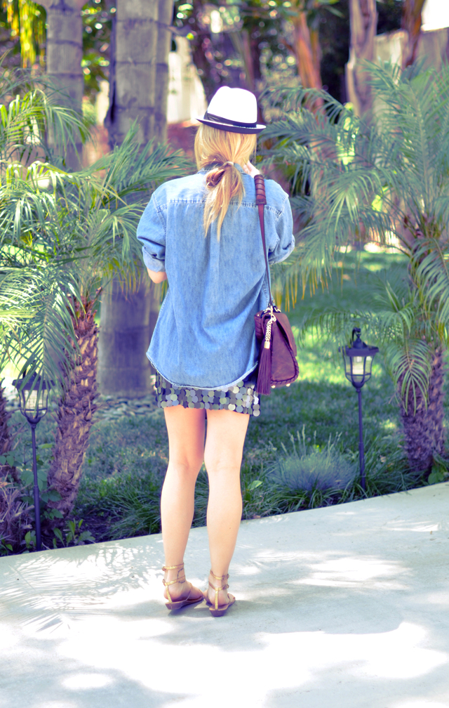 Paillette skirt +   denim shirt + hat + gold gladiator sandals