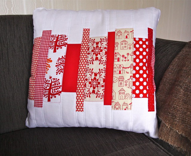 Quilted Pillow in reds