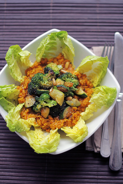 Red Lentils, Broccoli and Courgettes
