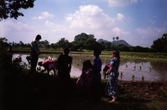 meeting villagers (Jennifer Kumar) Tags: 1999 negativescan mudhuts villageindia india1999 ruralcamp socialworkindia mystudiesinindia