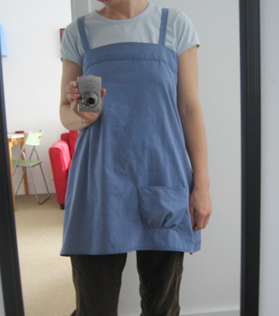 Smock from blue men's shirt (w/ pocket)