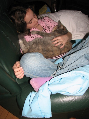 rocking her baby to sleep