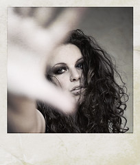 private (biancavanderwerf) Tags: portrait selfportrait self private polaroid hand close curls explore bianca frontpage defense graphicmaster