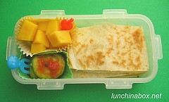 Quesadilla bento lunch for prechooler