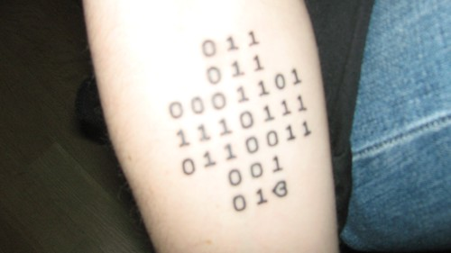 Binary Tattoo. Who will be the first to decode it?