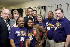 Obama and SEIU members and leaders