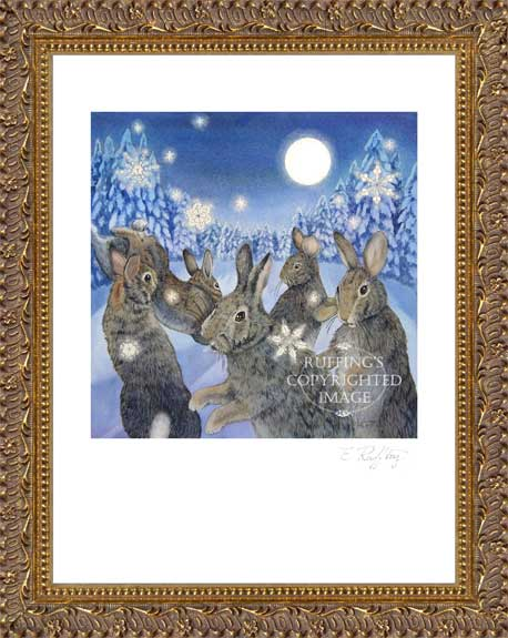 """The Rabbit Dances"" ER20 by Elizabeth Ruffing Watercolor Framed Print of Rabbits in Snow"