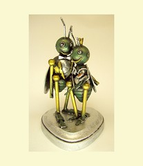 Love Bugs Wedding Cake Topper Insect Bride with Crown and Groom with Tuxedo Wood Statues (Builders Studio) Tags: wedding woman white flower cute green love smile hat smiling cake silver bug pose insect dessert gold groom bride fly flying photo hug humorous married veil wasp dress heart arm princess top anniversary humor formal smiles tie bowtie wed bugs bee tuxedo bow tophat formalwear bridesmaid getting crown hornet gown bridal winged groomsmen tux marraige marry base antenna tails topper wedded