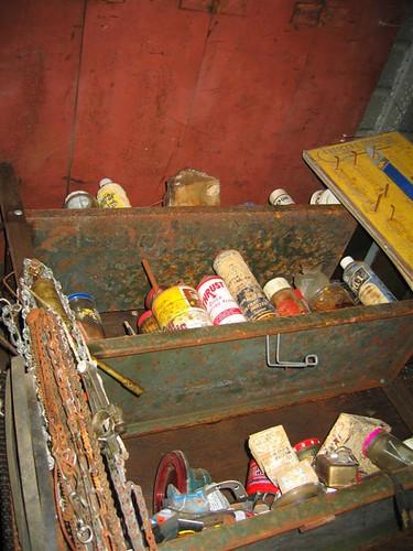 Shelf of chemicals
