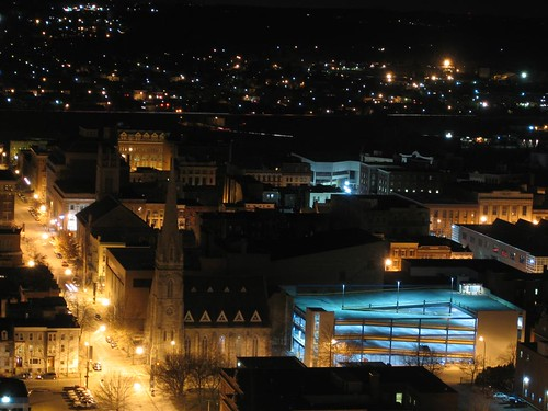 Close-up of Troy parking garage at night