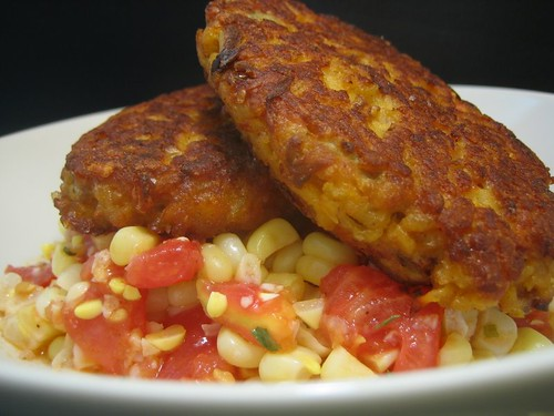 Paella Cakes with Jersey Corn and Tomato Salad