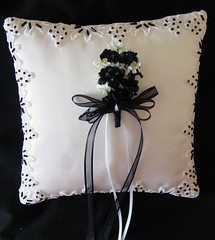 White with Black Beading--SOLD!!!! (Shabee Stitches) Tags: blackandwhite ringbearer bridal beaded ringpillow formalwedding