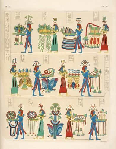 27-Ofrenda de las regiones del Nilo- pinturas tomadas de la tumba de Ramsés Meiamun en Biban el-Moluk