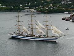 Mir leaves Bergen (davidlewis) Tags: bridge sea norway sailing ships sails tall bergen departing asky broen askoy