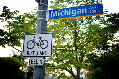 Bike Lane Begin On 17th And Michigan