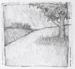 Tiny Pencil Sketch - Tree (betsystreeter) Tags: tree nature illustration pencil landscape outdoors betsy streeter
