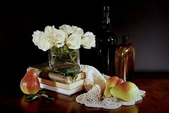 Roses, Books and Pears (floralgal) Tags: roses stilllife glass fruit pears bottles lace decorative books vase doily goldstar glassbottles coloredglass whiteroses flowersandfruit mywinners anawesomeshot creativearrangement stilllifecomposition goldstaraward dianaleeangstadtphotography