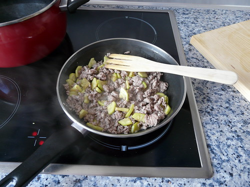 Calabacin con la carne picada