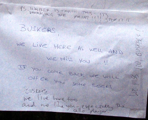 Buskers, we live here as well and we miss you!!