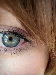 le yeux (amanda mason) Tags: blue iris light woman macro eye girl look yellow closeup lady canon hair grey see saw kid model eyes looking watch touch makeup yeux teen vision smell stare teenager mascara taste sight ponder upclose contemplate modelling hear sense