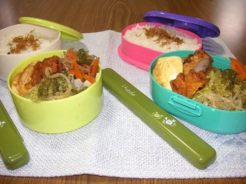 Packed lunch boxes for daughters