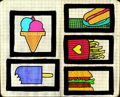 Junk Food (re.biscoito) Tags: hotdog sorvete palito cachorroquente sanduiche batatafrita casquinha xsalada cerejamoleskinefluorescentecomidaguloseimacoloridocolorescorescolourjunkfoodfomeprocessocriativo