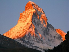 Orange Toblerone (lovemyblackcat) Tags: red mountain snow nature sunrise landscape switzerland scenery pyramid zermatt matterhorn toblerone redmountain huke