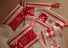 Christmas Stockings (linaloo1) Tags: christmas red white stockings handmade linen ric embroidered rac