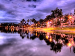 Echo park (Menetnasht) Tags: california park leica trees water night clouds speed reflections lumix la los long exposure downtown slow angeles echo stormy palm panasonic southern shutter hdr picnik fz50 photomatix