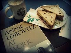 Annie Leibovitz At Starbucks ;) (moophisto) Tags: chicken coffee work book sandwich starbucks annie basil nut latte toffee leibovitz